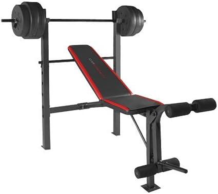 Weight Bench w// 140lb Vinyl Weights Set Standard Bar Dumbbells Workout Home Gym