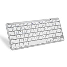 Rii® Bluetooth Wireless Keyboard BT09 for iOS Android Windows, iPhone, iPad , Galaxy Tab, Mac, and any bluetooth enabled device (White)