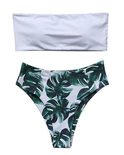 RUUHEE Women High Cut Bandeau Tropical Leaf Printed Strapless Swimsuits Bikini Set (L(US Size 8-10),White-1)