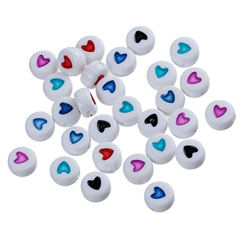 (BSNOVT Acrylic Spacer Beads Flat Round at Random Enamel Heart Pattern About 7mm(2/8