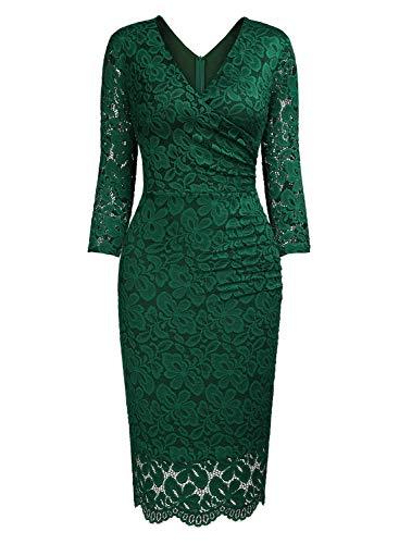 Donna Elegante Vestito Fit Coctel Verde Slim Corta Miusol Pizzo wTx6daqgqY