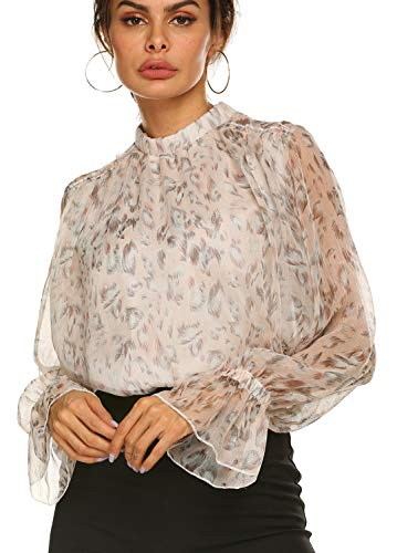 - Summer Boho Top,Womens Mocked Neck Ruffled Shoulder Floral Chiffon Blouse Pink,XL