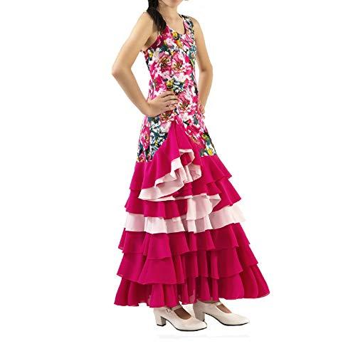 ANUKA Vestido de NIÑA para Danza Flamenco o sevillanas (Fucsia, 12)
