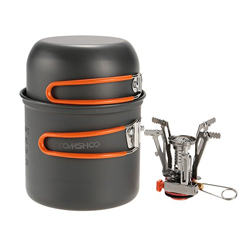 TOMSHOO Outdoor Cookware Camping Pan Pot with Mini Camping Stove for Hiking Camping Picnic