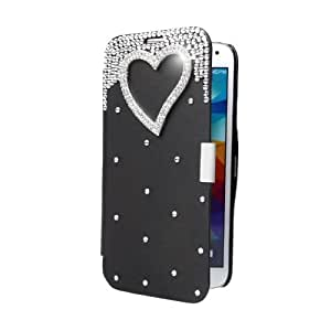 New Arrival Thin Lightweight Lovely Flip Crystal Diamond Bling Flower Case Cover PU Leather Shell for Samsung Galaxy S5 i9600 Black