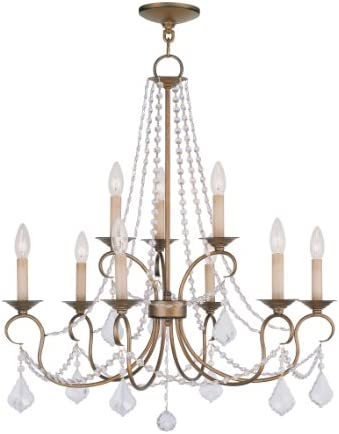 Livex Lighting 6519-48 Pennington 9 Light Chandelier, Antique Gold Leaf