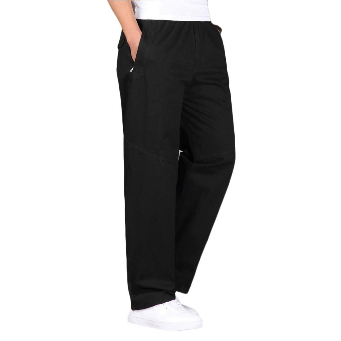 pipigo Mens Casual Plus Size Solid Cotton Elastic Waist Straight Leg Pants Trousers 4 3XL