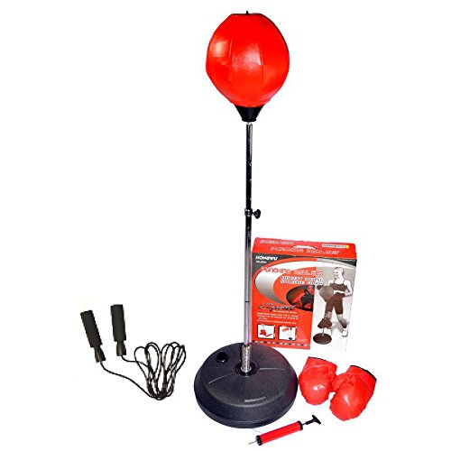 Hongwu Adjustable Free Standing Punching Speed Ball Bag With Boxing Gloves and Jump Rope by Hongwu