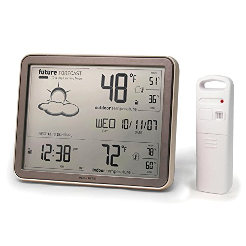 AcuRite 75077 Wireless Weather Station with Large Display, Wireless Temperature Sensor and Atomic Clock (Outdoor Clocks And Temperature Gauges)