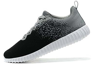 KESUBAO Men's Knit Breathable Casual Sneakers Lightweight Athletic Tennis Walking Outdoor Sports Running Shoes (11US/45EU, Black-Grey)