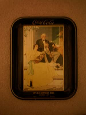 """ANTIQUE Drink Coca Cola Tray -- My Old Kentucky Home Calendar Art 1934 Norman Rockwell -- 10.75"""" x 13.5"""" -- [Kentucky Gentleman sitting on porch listening to young girl play mandolin] -- as shown"""