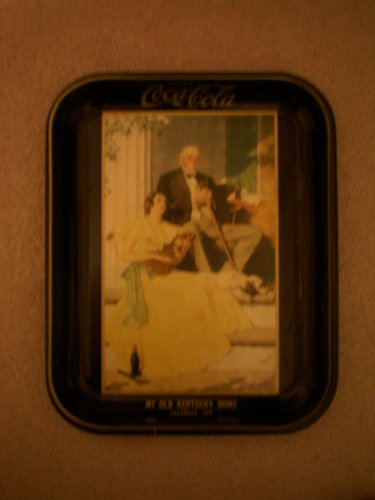 ANTIQUE Drink Coca Cola Tray -- My Old Kentucky Home Calendar Art 1934 Norman Rockwell -- 10.75