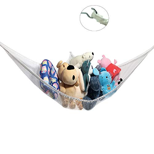 luckypeople Toy Storage Hammock,Toy Organizer,Hanging Corner Toy Hammock Extra Large Storage Mesh Safe Net Organize Clutter for Kids Stuffed Animals Toys,Durable,Easy to Install(White) ()