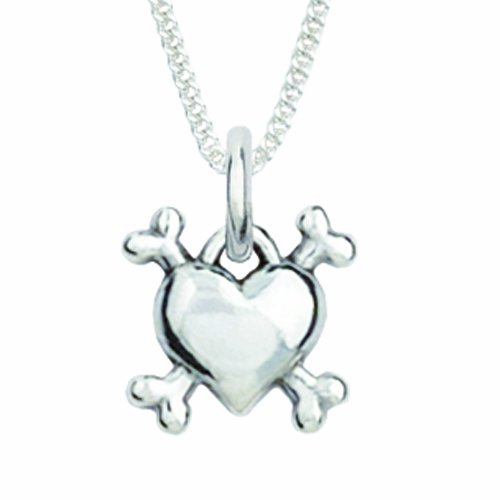 Rockin' Doggie Sterling Silver Necklace, Heart/Bones by Rockin Doggie