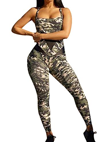 - MACCHIASHINE Women's 1 PCS Pattern Print Sports Bra Pants Set Yoga Wear Set Camouflage Elastic Jumpsuits Overalls(CA,L)