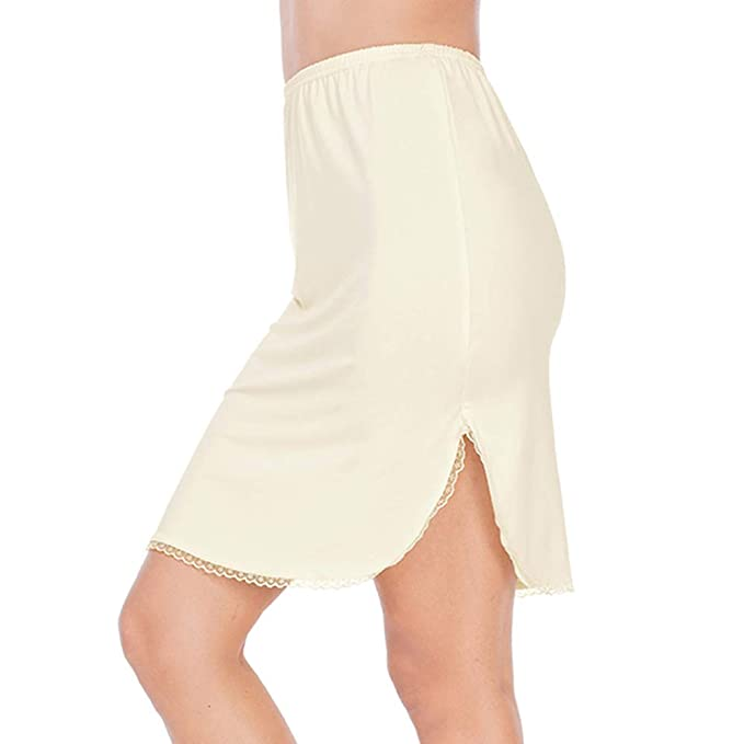 9ff4835cbcdd Half Slips for Women Underskirt Short Mini Skirt with Floral Lace Trim Beige  Small