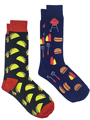 (360 Threads Men's Novelty Socks - 2 Pair Set (Taco black & BBQ Grill))