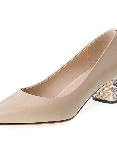 GGX/ Zapatos de mujer-Tacón Robusto-Confort / Puntiagudos-Tacones-Oficina y Trabajo / Casual-Cuero-Negro / Almendra , black-us9.5-10 / eu41 / uk7.5-8 / cn42 , black-us9.5-10 / eu41 / uk7.5-8 / cn42 almond-us5 / eu35 / uk3 / cn34