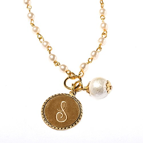 John Wind Mini Coin Gold-Toned Initial S On - Coin Initial Necklace