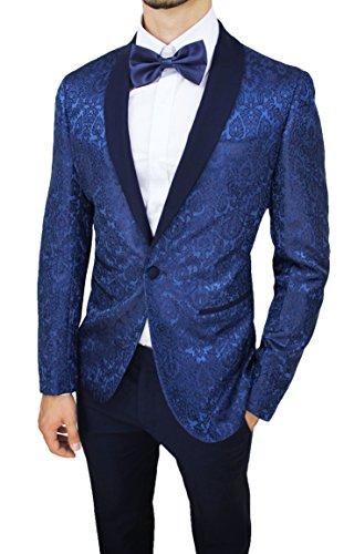 Raso Fit Sartoriale Tessuto Abito Uomo Floreale Completo Elegante Vestito Slim Damascato Blu Smoking 4wAqXSq
