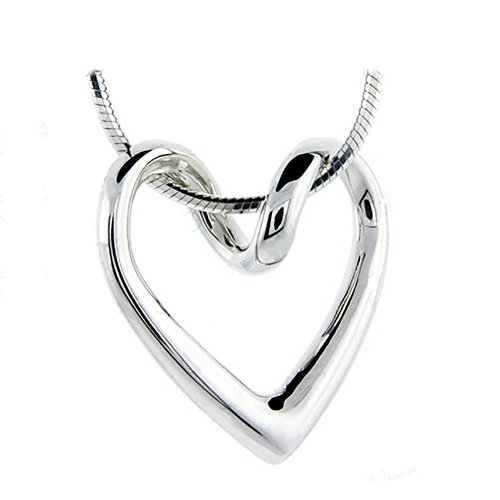 [Necklace For Women Teen Girls - 14k White Gold Plated Open Heart Shaped Pendant - Prime Gift] (Old Grandma Costumes)