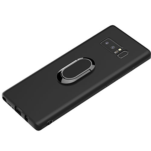 Galaxy Note 8 Case, WATACHE Ultra Slim Thin Form-Fitted Premium Flexible TPU Shockproof Protective Cover Case with Magnetic 360 Degree Rotating Ring Holder for Samsung Galaxy Note 8 (Black) ()