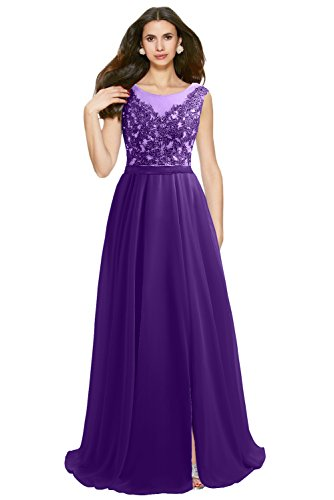 Aermellos Missdressy Damen Satin Linie Abendkleid Violett Rundkragn Tuell Chiffon A Band Lang Spitze Partykleid T88Saxnw