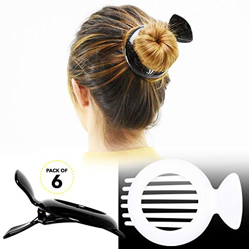 Round Ornament Ornament Round (RC ROCHE ORNAMENT Womens Round Circle Side Slide Bun Maker Strong Hold Grip No Slip Inner Teeth Styling Beauty Fashion Accessory Hair Claw Clamp Clip, 6 Pack Count Large Black and white)