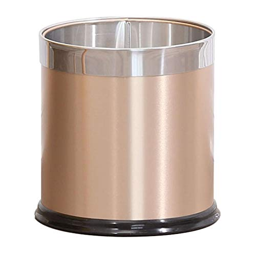 CX Round Trash Can Wastebasket Fireproof Easy to Clean Anti-Fingerprint No Noise at The Bottom Family Bedroom Kitchen Bathroom Office Aluminum 8L/10L/13L/18L 01 ()