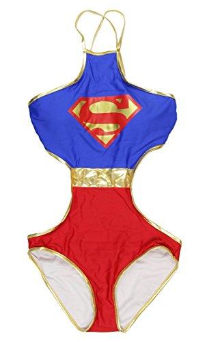 DC Comics Superman Logo Criss-Cross Monokini Swimsuit (Large)