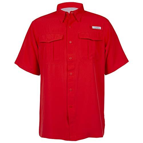 (HABIT Men's Belcoast Short Sleeve River Guide Fishing Shirt, Flame Scarlet, X-Large)