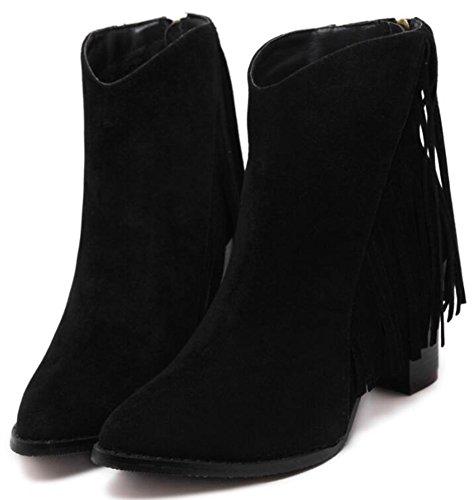 Idifu Kvinna Vintage Fransar Mitten Chunky Klackar Mocka Dragkedja Boots Svart