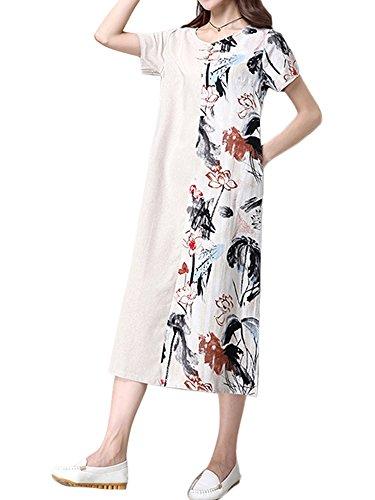 Dress Women Printed Elegant Midi Patchwork Floral Linen Beige Y1qfF