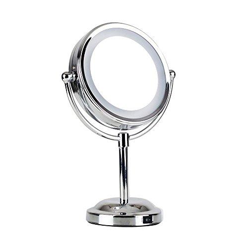 Specchio con luci a led interni regolabile rotondo colore cromo operato a batteria con - Specchio per trucco con luci ...