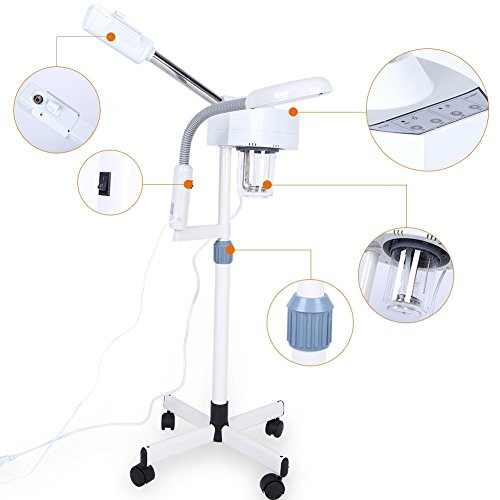 2in1 Facial Steamer, 5X Magnifying LED Floor Lamp Multifunction Spa Professional Humidifier Beauty Facial Clean Skin Care Tool by ZJchao (Image #5)
