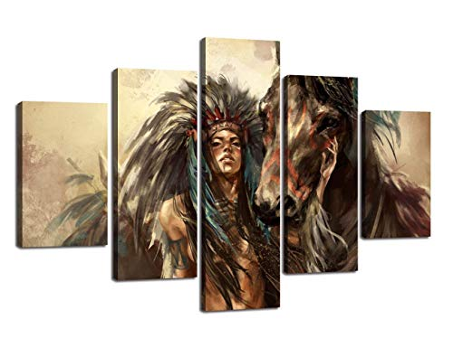 Extra Large Ancient Native American Painting on Canvas 5 Panel Wall Art Retro Indian Chief Mystic Pictures Print for Home Decor Framed for Living Room Giclee Stretched Ready to Hang(60''Wx40''H) by Yatsen Bridge