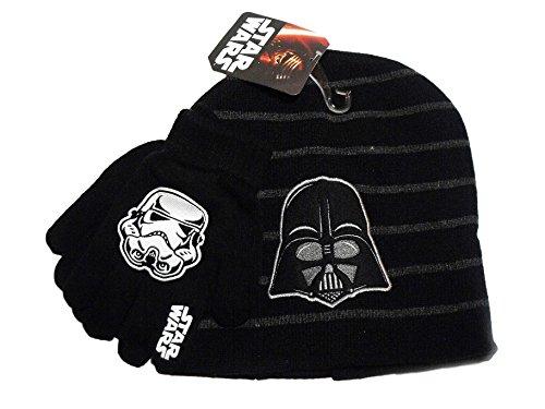 Star Wars Darth Vader Black Grey Knit Beanie Hat Stormtrooper Black Gloves Set (Vader Gloves)