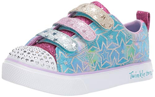 Skechers Kids Girls' Twinkle Breeze 2.0-Sparkle DU Sneaker, Silver/Multi, 11.5 Medium US Little Kid