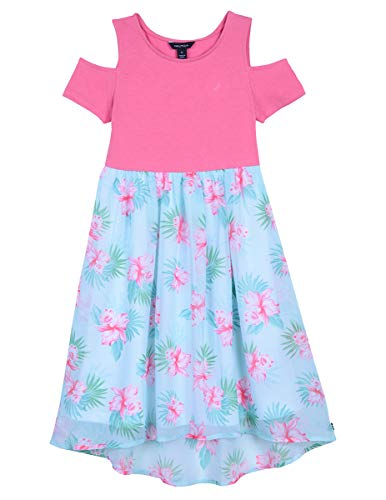 Nautica Girls' Cold Shoulder Fashion Dress cold floral medium pink 2T (Girls Outfits 2t Under $10)