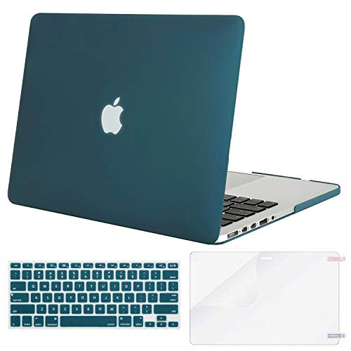 MOSISO Case Only Compatible Older Version MacBook Pro Retina 13 Inch (Model: A1502 & A1425) (Release 2015 - end 2012), Plastic Hard Shell & Keyboard Cover & Screen Protector, Deep Teal