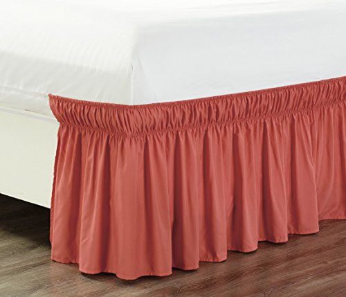 wrap around 18 inch fall coral orange ruffled elastic solid bed skirt fits all twin and full. Black Bedroom Furniture Sets. Home Design Ideas