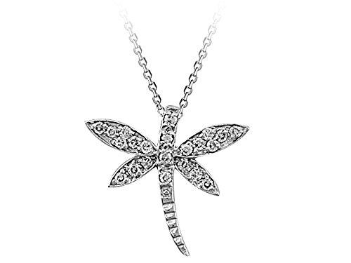 Pendentif Libellule Diamants-Femme- or Blanc 215P0013