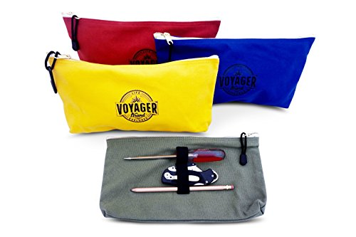 Canvas Zipper Bag (Set of 4) Heavy Duty Tool Pouch Tote Bags, Color Coded with Carabiner Clip, Metal Zipper and Elastic Organizer by Voyager