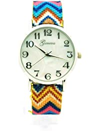 Silver Women's Navajo Weave Fabric Multicolor Band Wrist Watch Yellow