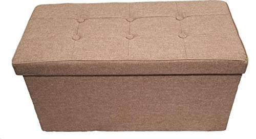 Fancy Linen Faux Linen Camel Foldable Storage Rectangle Ottoman Bench 2 Seats New ()