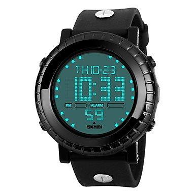 (FENKOO Men's Wrist Watch Quartz Japanese Quartz Alarm Calendar/Date/Day Chronograph Water Resistant/Water Proof LCD Rubber Band Charm Fashion Watch (Color : Black-One Size) )