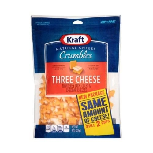 Kraft Zip Pak Natural Crumbles Three Cheese, 8 Ounce -- 12 per case.