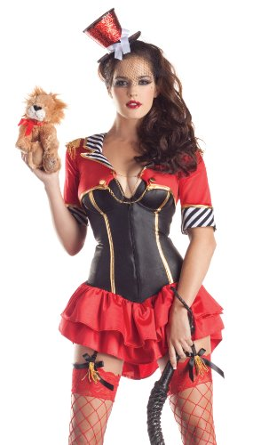 Lion Tamer Body Shaper Circus Ring Master Fancy Dress Womens Halloween Costume -