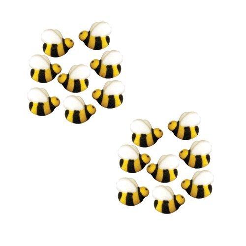 Bees Cakes Decorations #45148 - Bumble Bee Shaped Edible Hard Sugar Decorations, 16 pcs by Paradise Cupcakes