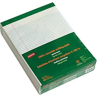 """Staples 100% Recycled 8 1/2"""" x 11 3/4"""", White, Perforated Notepads, Narrow Ruled, 12/Pack"""
